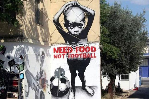 Graffiti anti Mundial en Brasil